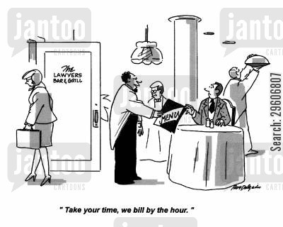 grills cartoon humor: 'Take your time, we bill by the hour.'