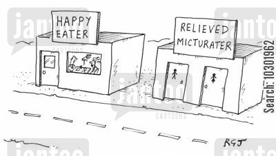 service station cartoon humor: 'Relieved Micturater' next to a 'Happy Eater'.