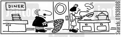 culinary skills cartoon humor: 'Flipping pancakes.' 'Waiting with a net.'