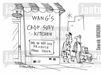 chinese products cartoon humor: Wang's Chop Suey Kitchen - We Do Not Use Produce From China.