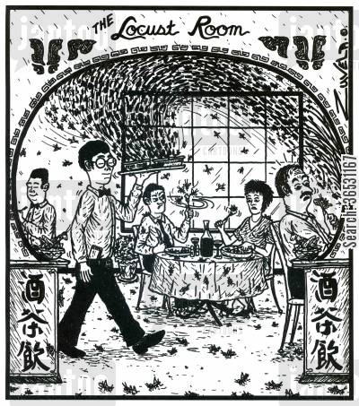chinese restaurants cartoon humor: The Locust Room (a Chinese resturant with Locust everywhere).