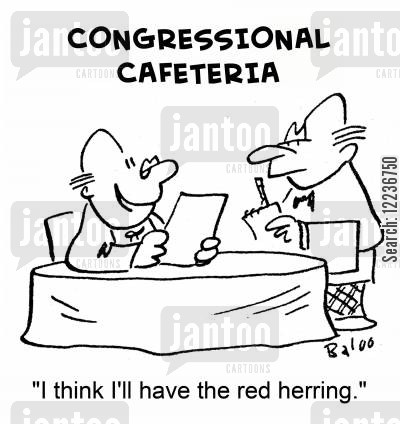 red herrings cartoon humor: 'I think I'll have the red herring.'