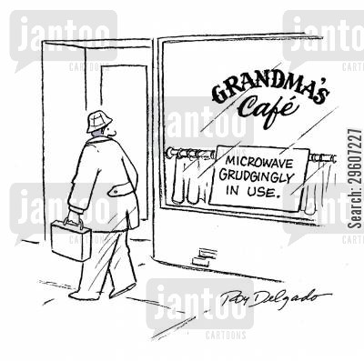 cafe cartoon humor: Microwave grudgingly in use.