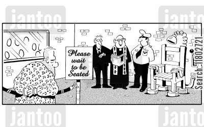 seated cartoon humor: Please wait to be seated (by electric chair).