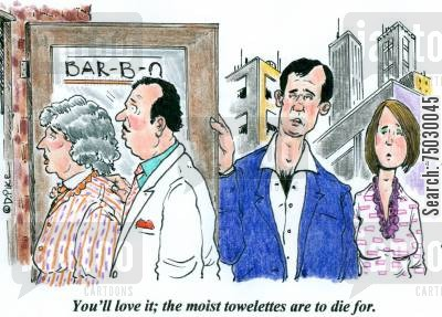 recommend cartoon humor: 'You'll love it; the moist towelettes are to die for.'