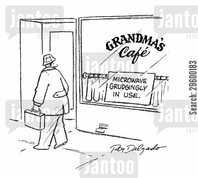 food snob cartoon humor: Grandma's caf