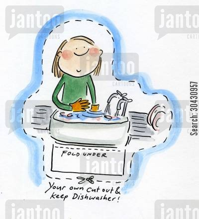 doing dishes cartoon humor: Cut out and keep your own Dishwasher.