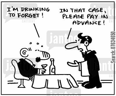 drinking to forget cartoon humor: I'm drinking to forget.
