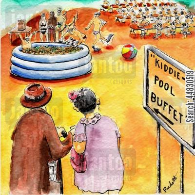 buffets cartoon humor: An elderly couple arrive at Kiddie Pool Buffet, where people are wearing swim suits etc. and serving food from the pool itself.