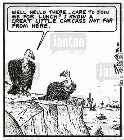 asking out cartoon humor: 'Well hello there...Care to join me for lunch? I know a great little carcass not far from here.'
