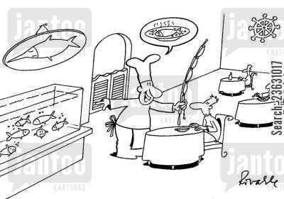 seafood restaurants cartoon humor: Catching your own fish in a restaurant.