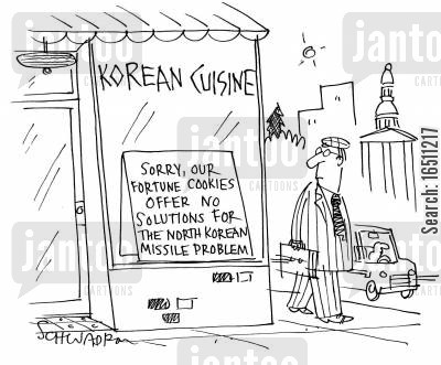 korea cartoon humor: Korean Cuisine: Sorry our fortune cookies offer no solutions for the north Korean missile problem.