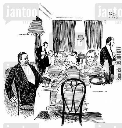 rule's restaurant cartoon humor: Illustration to 'Charles Dickens at Gadshill'.