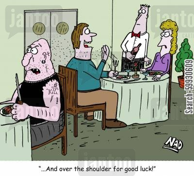 beaten up cartoon humor: '...and over the shoulder for 'good luck'.'