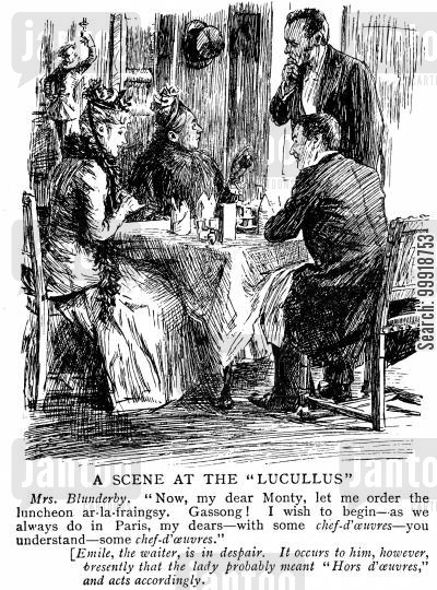victorian restaurant cartoon humor: A Scene at the Lucullus.