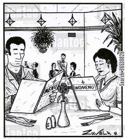 dined cartoon humor: Man with a 'menu', woman with a 'womenu'.