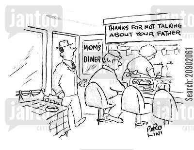 moms diner cartoon humor: Mom's Diner - Thanks for not talking about your father.