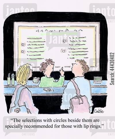 exotic food cartoon humor: 'The selections with circles beside them are specially recommended for those with lip rings.'