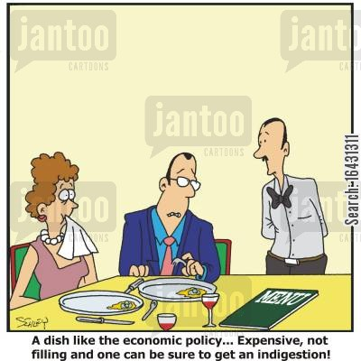 food critics cartoon humor: 'A dish like the economic policy... Expensive, not filling and one can be sure to get an indigestion!'