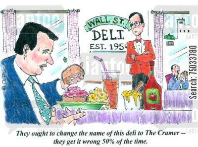 deli cartoon humor: 'They ought to change the name of this deli to The Cramer - they get it wrong 50 of the time.'