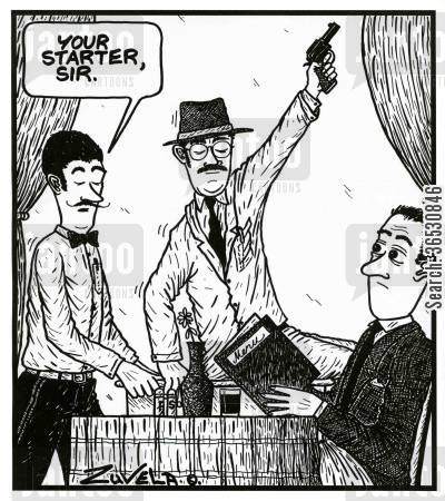 table service cartoon humor: 'Your starter, sir.'