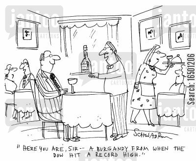 burgandies cartoon humor: -A burgandy from when the dow hit a record high.
