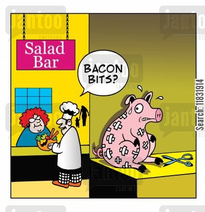 salad bars cartoon humor: Bacon bits at the salad bar.