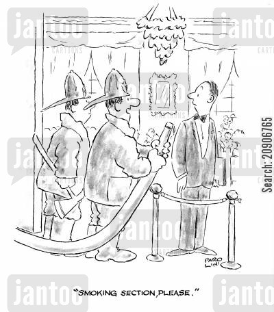fire engine cartoon humor: 'Smoking section, please.'