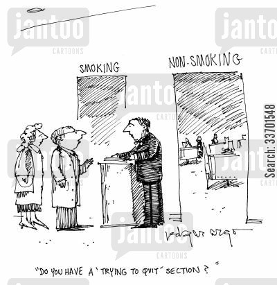 smoking section cartoon humor: 'Do you have a 'trying to quit' section?'