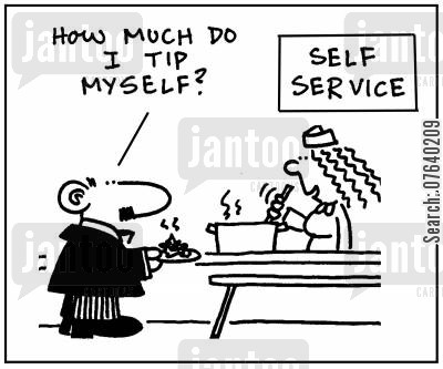 restaurant bills cartoon humor: 'How much do I tip myself?'