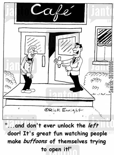 tricks of the trade cartoon humor: '...and don't ever unlock the left door!...'