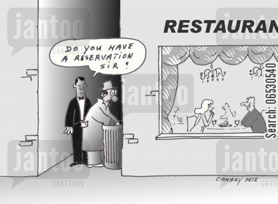 garbage can cartoon humor: Do you have a reservation sir?