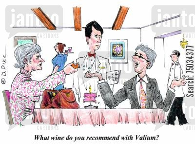 sommelier cartoon humor: 'What wine do you recommend with Valium?'