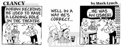 economical with the truth cartoon humor: Clancy: Aspiring Actor
