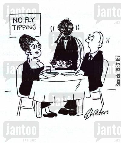 tipping cartoon humor: No fly tipping.