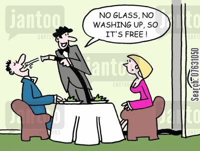 free drinks cartoon humor: No glass, no washing up, so it's free!
