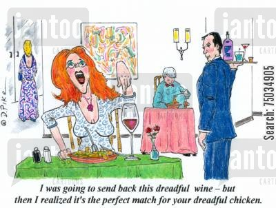food critics cartoon humor: 'I was going to send back this dreadful wine - but then I realized it's the perfect match for your dreadful chicken.'