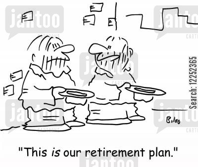 begger cartoon humor: 'This IS our retirement plan.'