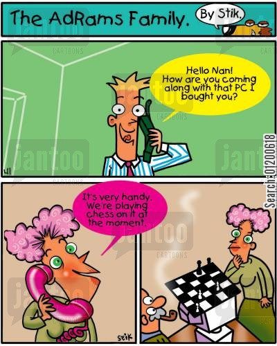 hi tech cartoon humor: The AdRams Family no.24 - Playing chess on the computer