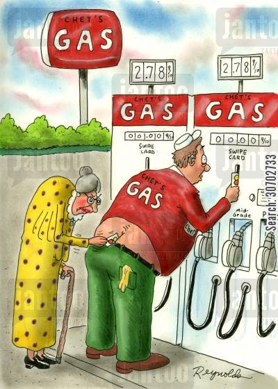 bum cracks cartoon humor: Old woman trying to swipe card in gas attendents bottom crack.