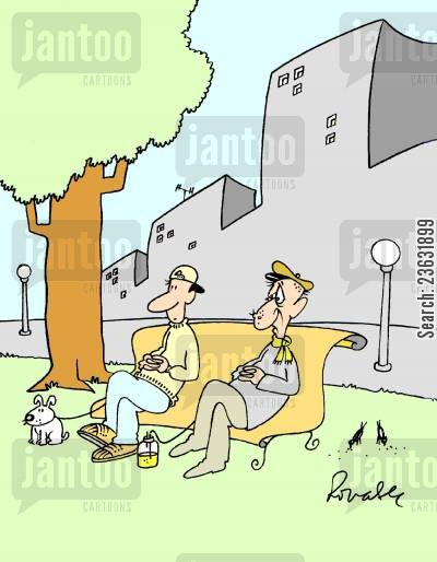 bench cartoon humor: Two men sitting on a bench - the young man holds a dog on a leash, while the old man is connected to a urine bag.