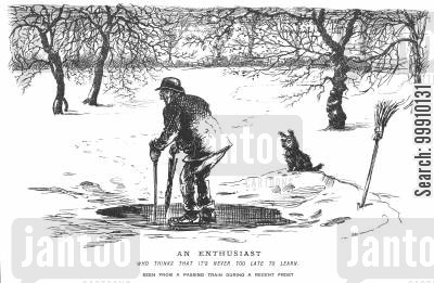 enthusiasm cartoon humor: Old man learning to ice skate