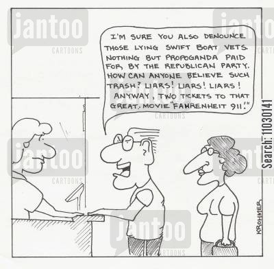 moore cartoon humor: Couple buying ticket to Fahrenheit 911 while showing disgust with swift boat vets