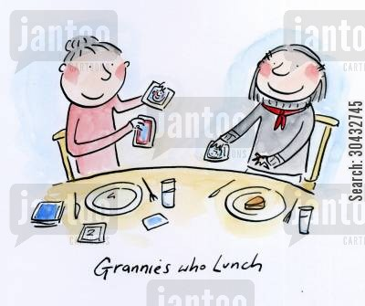 nans cartoon humor: Grannies who lunch.