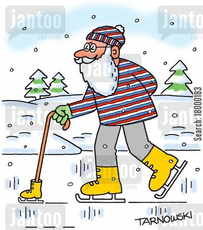 ice skate cartoon humor: Old man with an ice skate on his walking stick.