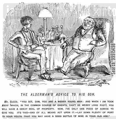 old age cartoon humor: Alderman advising his son to put aside plenty of port in his youth