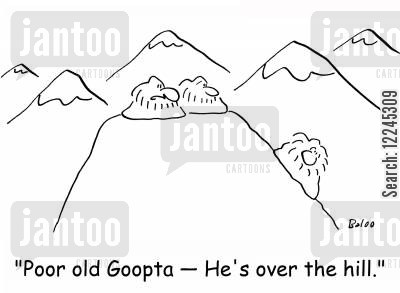 over the hill cartoon humor: 'Poor old Goopta -- He's over the hill.'