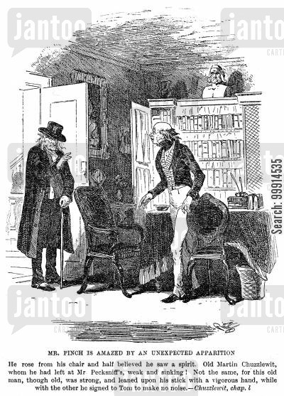 martin chuzzlewit cartoon humor: Mr. Pinch is amazed by an unexpected appiration