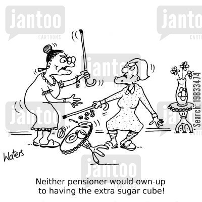 retirement homes cartoon humor: Neither pensioner would own-up to having the extra sugar cube!