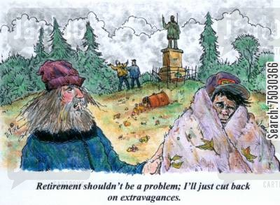 shelter cartoon humor: 'Retirement shouldn't be a problem; I'll just cut back on extravagances.'